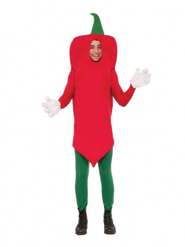 Adults Chilli Pepper Costume Mexican Spicey Food Fancy Dress Outfit